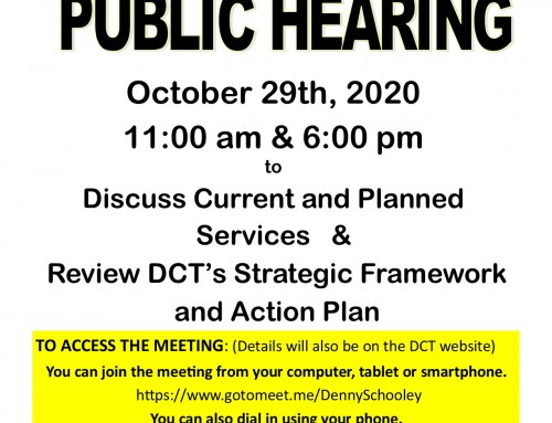 DCT Announces Virtual Public Hearing